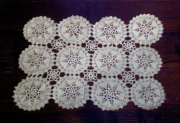 OFF-WHITE VINTAGE COTTON LACE TABLECLOTH CIRCLES 46x34 cm 18x13inch