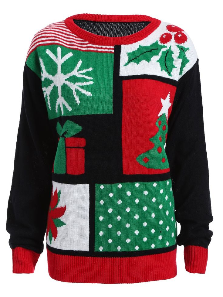 Christmas Tree Snowflake Pattern Cute Plus Size Sweater 3