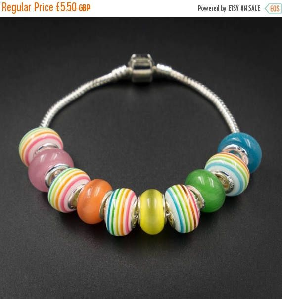 ON SALE Rainbow european style large hole by CretanHareCreations