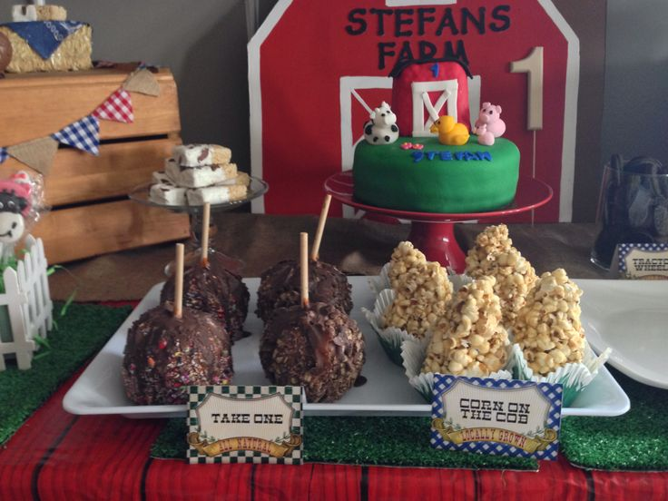 Candy apples at farm birthday