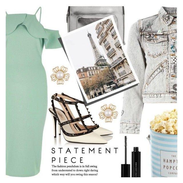 """""""Let your shoes do all the talking..."""" by simplyuntamednatonya ❤ liked on Polyvore featuring River Island, Marc Jacobs, The Hampton Popcorn Company, Valentino, MANGO, statementshoes, aciddenim and coldshoulders"""