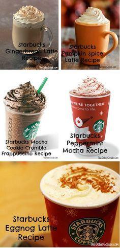 Starbucks Holiday Copy Cat Drinks  http://thecakebar.tumblr.com/post/64610604108/5-diy-starbucks-copy-cat-holiday-drinks #starbucks