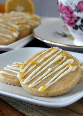 Lemon Shortbread Cookies with White Chocolate Drizzle