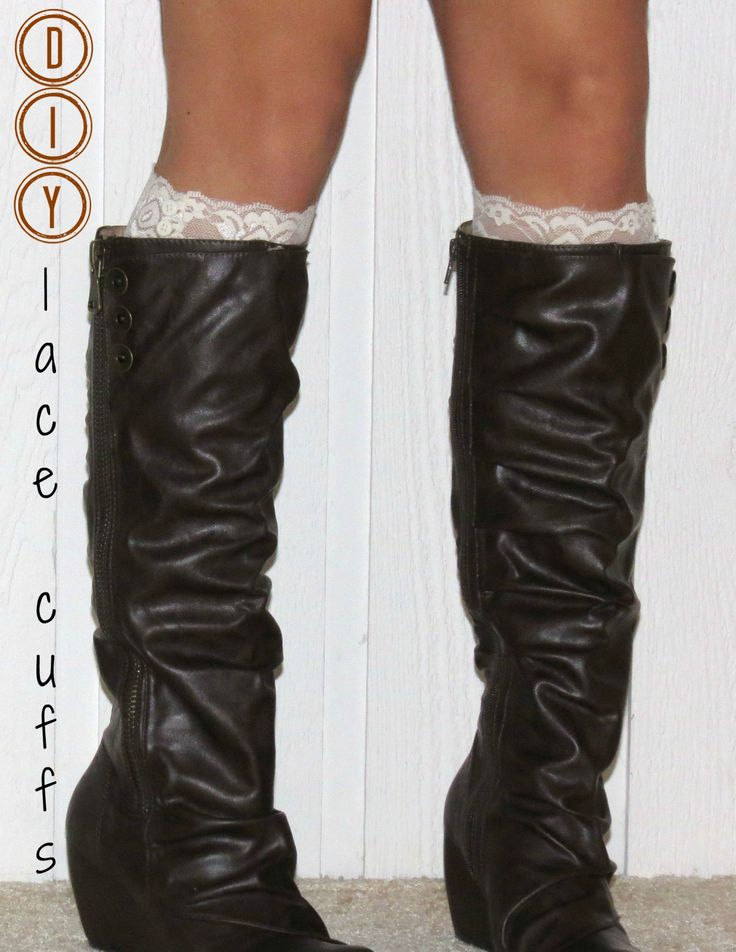 Lace boot cuffs: Lace Cuffs, Diy Lace, Img1956, Diy Crafts, Diy Boots, Boots Socks, Domestic Ingenu, Lace Boots Cuffs, Crafty Ideas