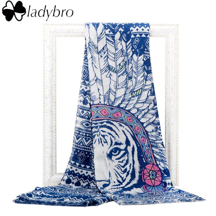 Ladybro Indian Tribe Tiger Scarf Women Printed Long Feather Scarf Bohemian Street Fashion Retro Animal Foulard Pashmina Cotton