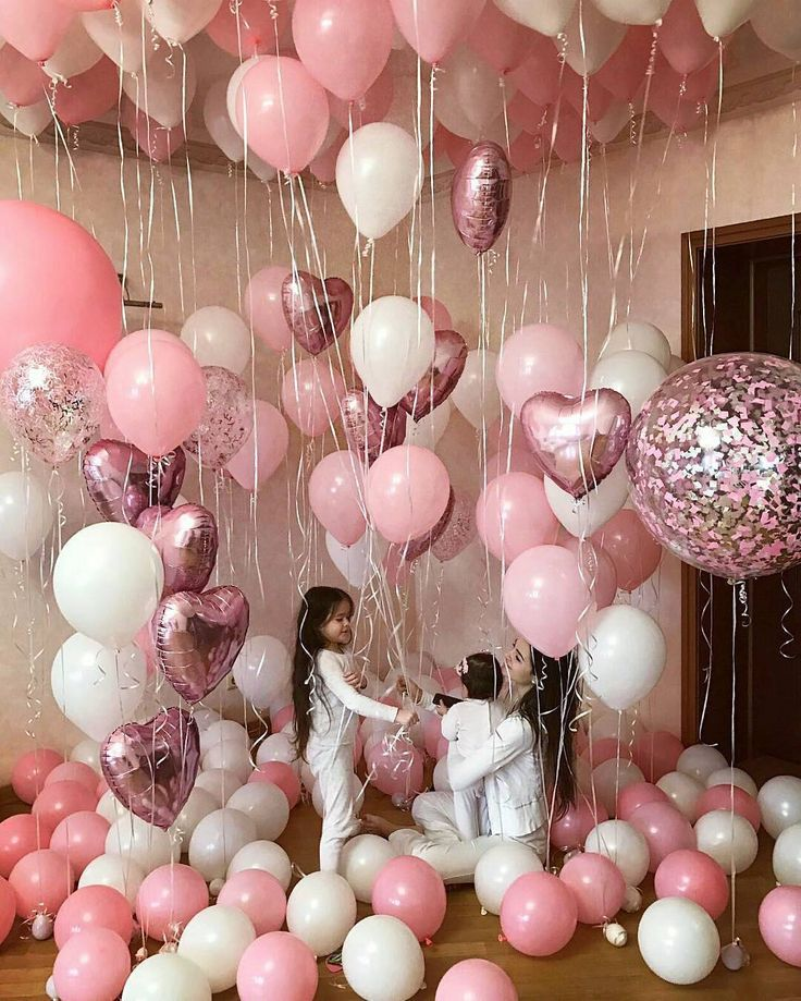 Pink White Balloon Decor Party Ideas 18th Birthday Party