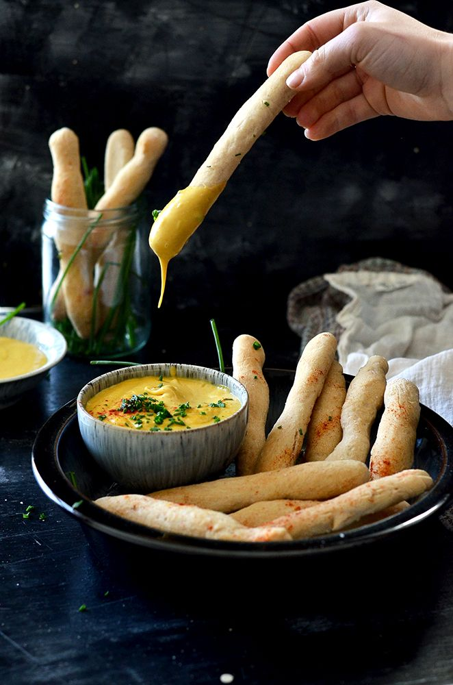 Dairy-less Dunkers! Vegan copycat lunchbox fave. Fluffy bread sticks with vegan cheese sauce!