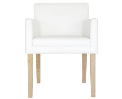 Rasusu Dining Chair (White Leather, Oak Legs)