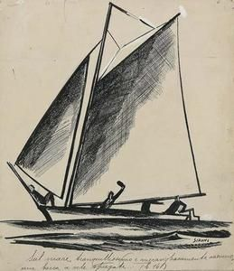 Mario Sironi - Ein Boot segelt
