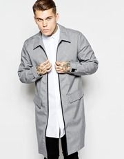 ASOS Trench With Contrast Zip Detailing In Gray