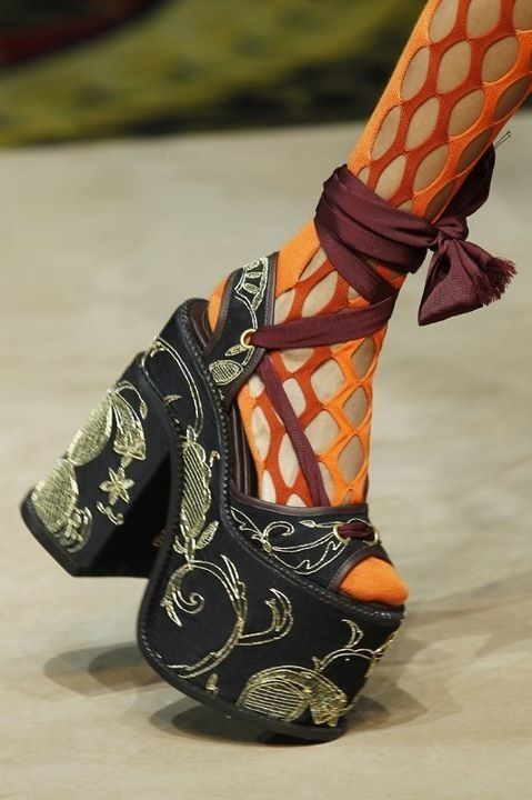 I truly think these platforms are cool from Vivienne Westwood. Problem is my scrawny little ankles (half her size) I'd break my ankle, foot, possible leg and hip if I was older lol...just by crossing my leg.