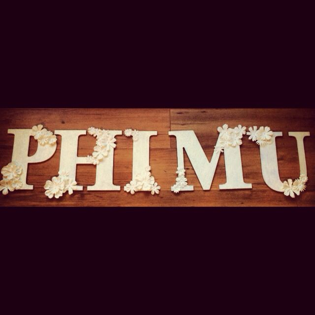 flowers, glitter and pearls, phi mu letters!