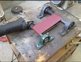 Notcher Grinder Homemade Constructed From Pillow Bearings Shafting A Sanding Belt