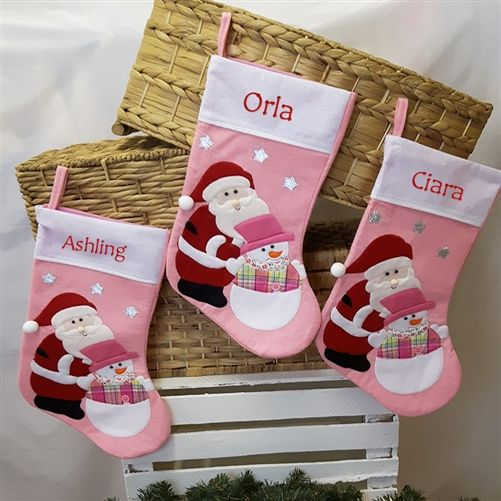 Personalised Pink Christmas Stocking - a gorgeous Stocking for celebrating a baby girl's first Christmas. Lots of other styles and colours available on WowWee.ie | €13.99