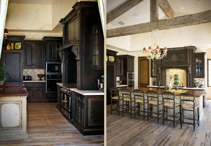 Kitchen Elegant Rustic Kitchen Cabinetry With Cool Dark Color Theme