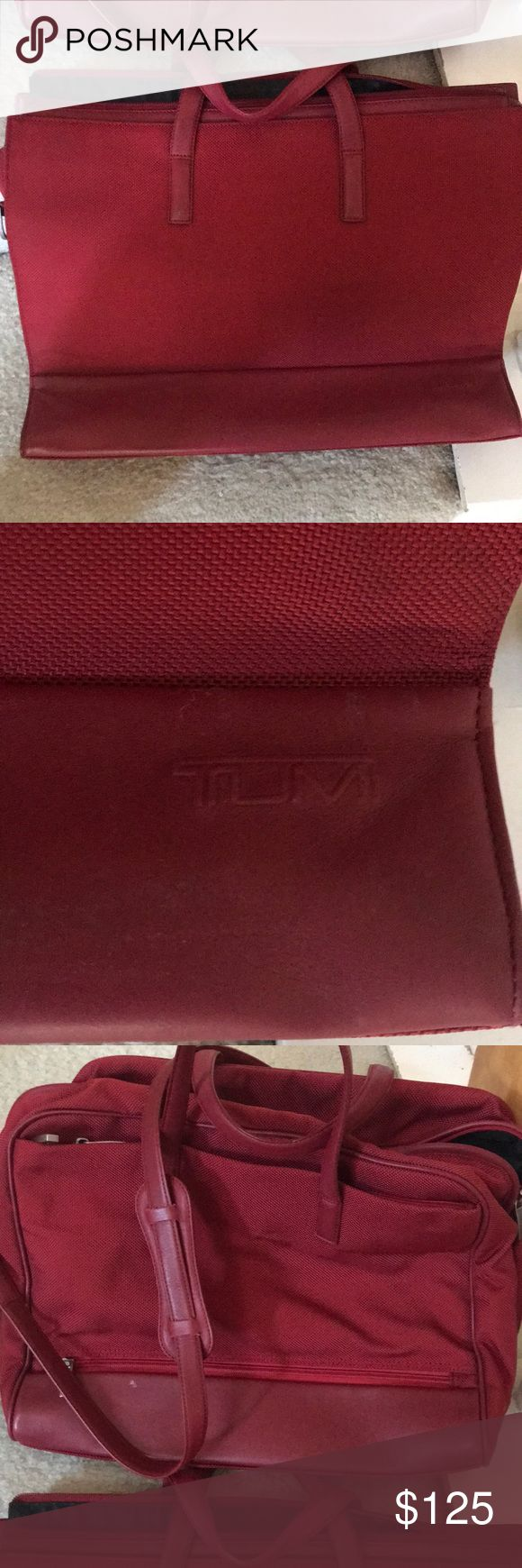 2 REd TUMI laptop bags Well maintained minimal scuff marks Price is for both laptop bags Both laptop bags have multi sectional compartments Larger laptop bag has a zipper that allows it to slide into your roller luggage handle Tumi Bags Laptop Bags