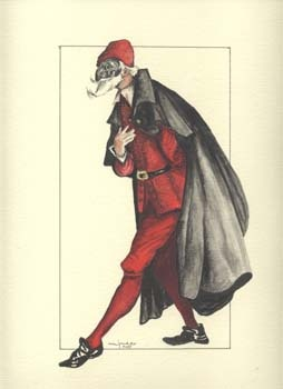 Pantalone - the mask of greed.     In the Commedia dell'Arte this character symbolizes money and exceptional social status