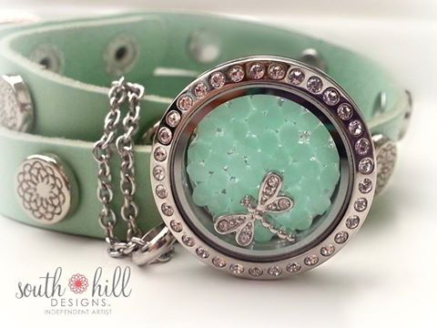 Mint leather wrap bracelet, mint alabaster crystal embellishment in the locket with a dragonfly charm. Stunning! http://SouthHillDesigns.com/TammyTamayo