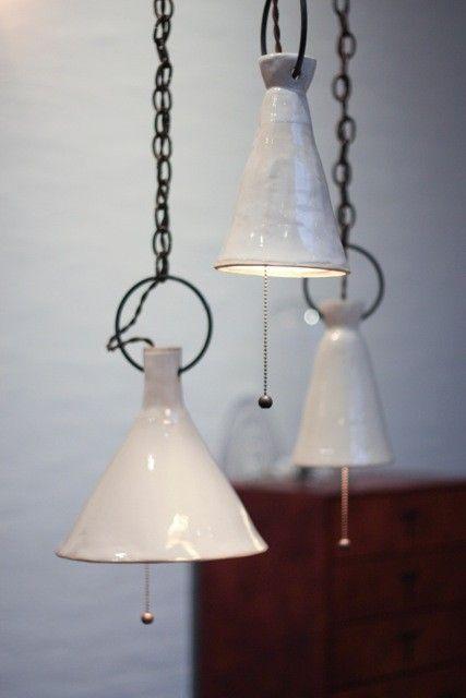lamparas en ceramica blanca