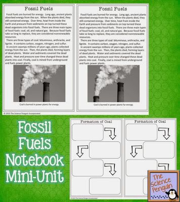 Free Natural Resources Activity: Fossil Fuels Science Lesson (reading, graphic organizer, activity, and test prep question)