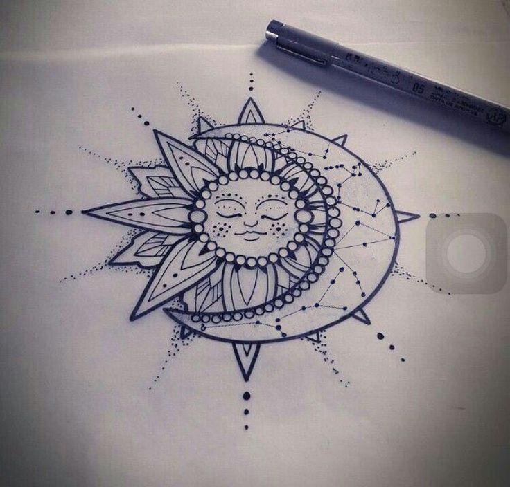 soleil et la lune tatouage édité constellations