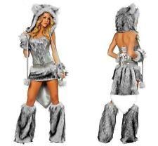 womens grey sexy faux fur big bad wolf costume halloween animal fancy - Womens Wolf Halloween Costume