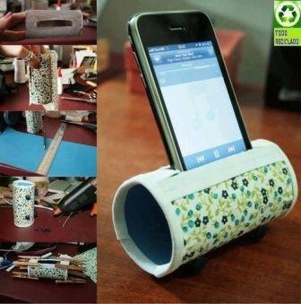 Porta celular con rollo de cartón | http://123manualidades.com/porta-celular-con-rollo-de-carton/1988/