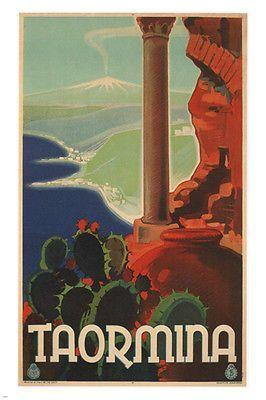 TAORMINA vintage travel POSTER Vittorio Grassi Italy 1933 24X36 STRIKING!