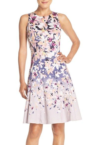 Maggy London Floral Sateen Fit & Flare Dress (Regular & Petite) available at #Nordstrom