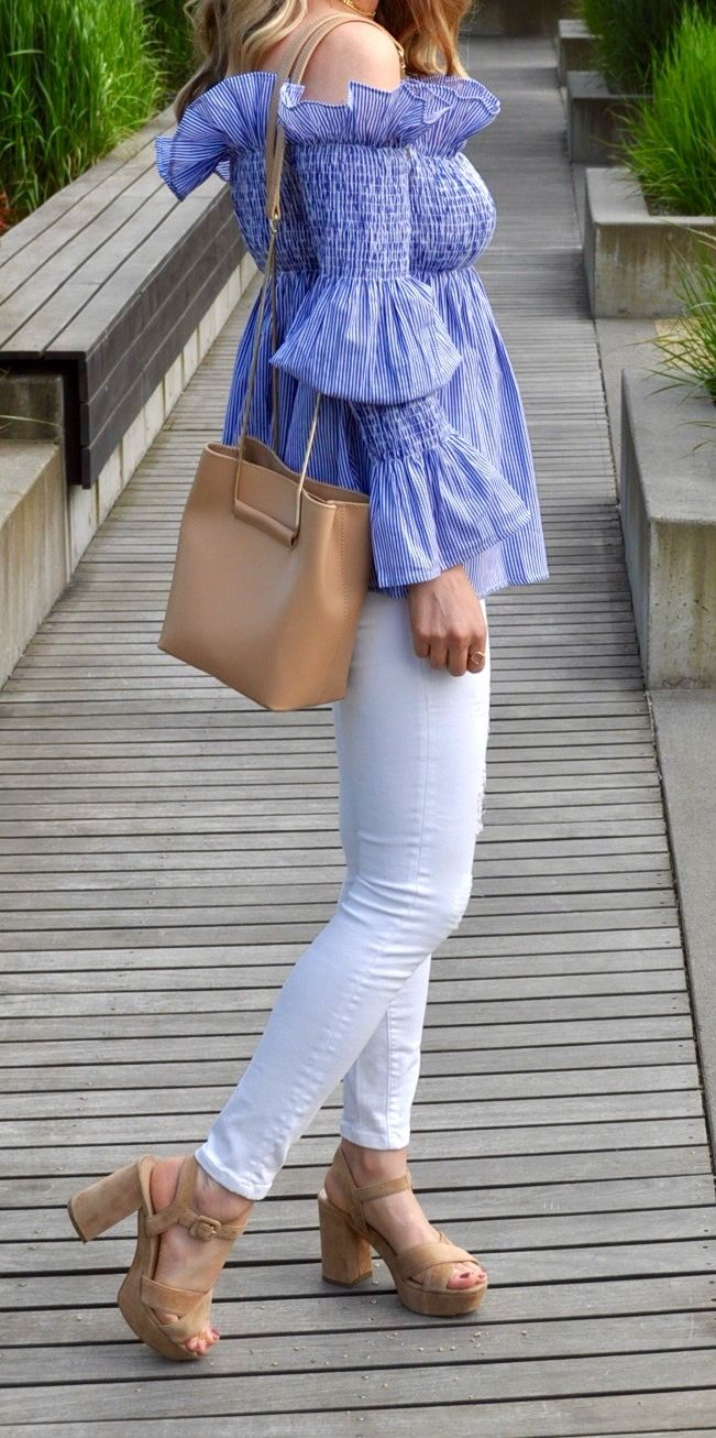 Off the shoulder ruffle top, white jeans and bucket bag outfit (via Confessions of a Product Junkie blog.)