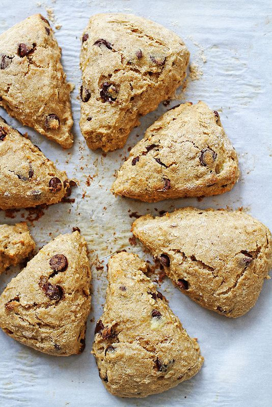 Whole Wheat Chocolate Chip Banana Scones | girlversusdough.com @girlversusdough