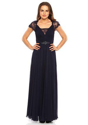 JS BOUTIQUE  Chiffon & Lace Grosgrain Belted Gown
