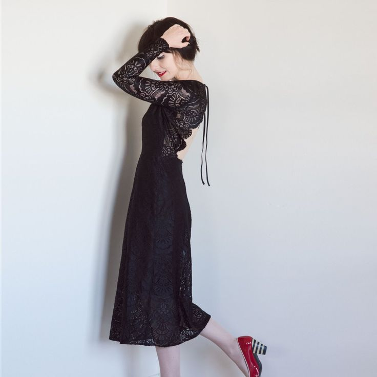 Black Lace Dress Goth Open Back