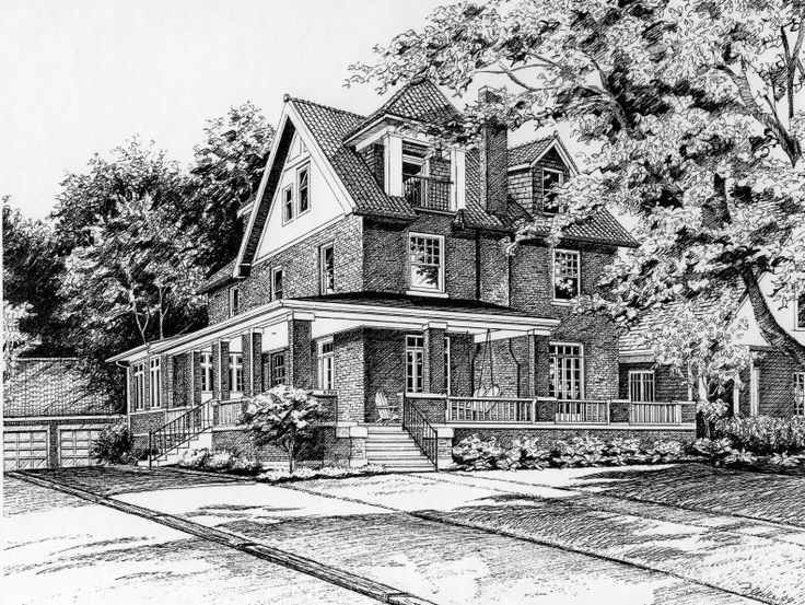 Pen & Ink illustration of three story brick home with wrap-around porch. Created by Richelle Flecke