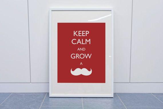 Keep Calm Print, Mustache Printable, Mustache Party Decor, Instant Download, Mustache Quote, Printable Decor, DIY, Digital Download, 8 x 10