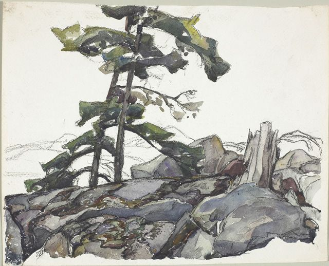 Frank Carmichael (1890-1945), Pine Trees, c. 1930-1935, watercolour over graphite