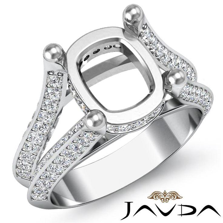 cushion shape semi mount diamond wedding ring 14k white gold split shank 1 2ct ebay - Wedding Rings On Ebay