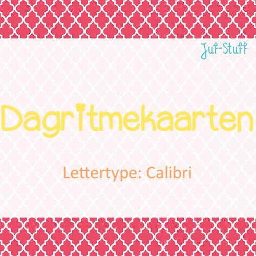 Juf-Stuff: Dagritmekaarten in lettertype calibri