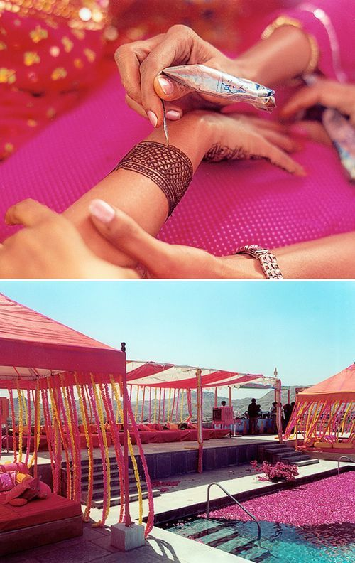 Could get your mehndi done outside on a nice day, set up a few tents in the backyard, cover a couple futons with covers, set up a food table, and decorate florals or sarees inside/outside tents! yayyyy!