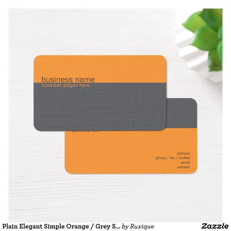 Plain Elegant Simple Orange / Grey Stripe Business Card #Plain #Elegant #Simple #Orange / #GreyStripe #Business #Card #businesscard