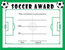 free soccer certificates