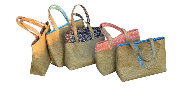 Mendong (Grass) bags. Exclusive hand made artisan design. Custom printed lining.
