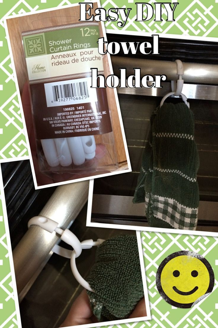 Easy Cheap DIY Kitchen Towel Holder Made With Dollar Tree Shower Curtain  Rings. I Used Two Rings Since My Oven Door Handle And The Towel Was Too  Thick ...