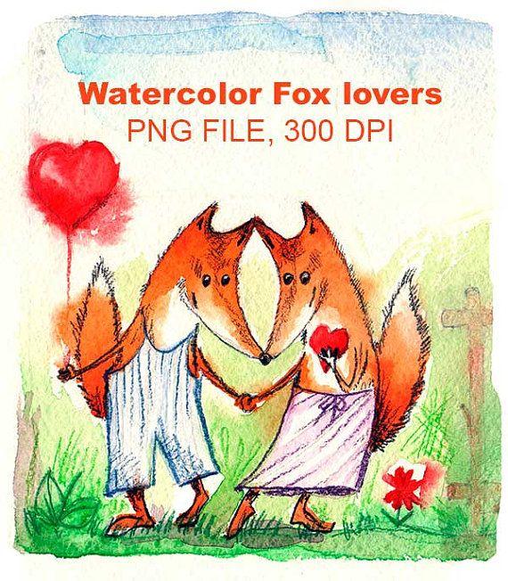 Акварель влюблённые Лисы. Подходит для от VectorGraphicArts