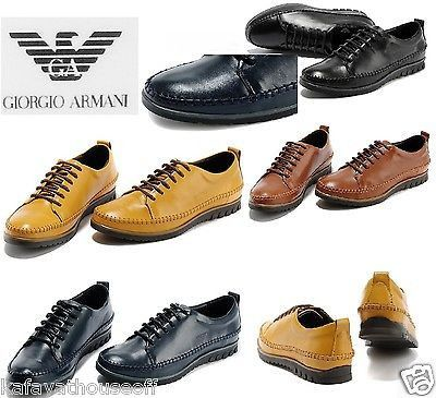 Armani Men Shoe Loose-Fitting Lace-Up Shoe Flat Moccasin Oxford Leather 38-43