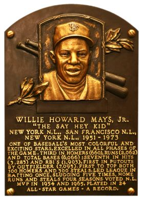 """WILLIE MAYS plaque in Cooperstown, New York.  When my dad first came to the U.S. in the 1950's, a friend of his dragged him to a Giants game to see """"the greatest ballplayer who ever played the game"""".  My Dad didn't know a thing about baseball back then, but he still tells me the story about the time he saw WILLIE MAYS play in person.  (Today, my Dad lives in San Francisco and is an avid Giants fan.)"""