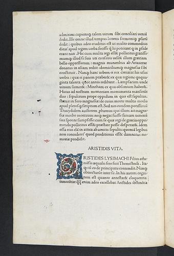 Illuminated initial from Cornelius Nepos: Vitae imperatorum, sive De vita illustrium virorum