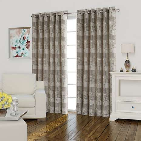 Lucille Natural Lined Eyelet Curtains   Dunelm