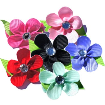 High quality, hand made designer Gros Grain Ribbon Hair Bows in fun and beautiful styles! Features detailed craftsmanship with Flower and Rhinestone.