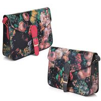 Women Retro Small Oil Flowers Painting Handbag Shoulder Crossbody Bag